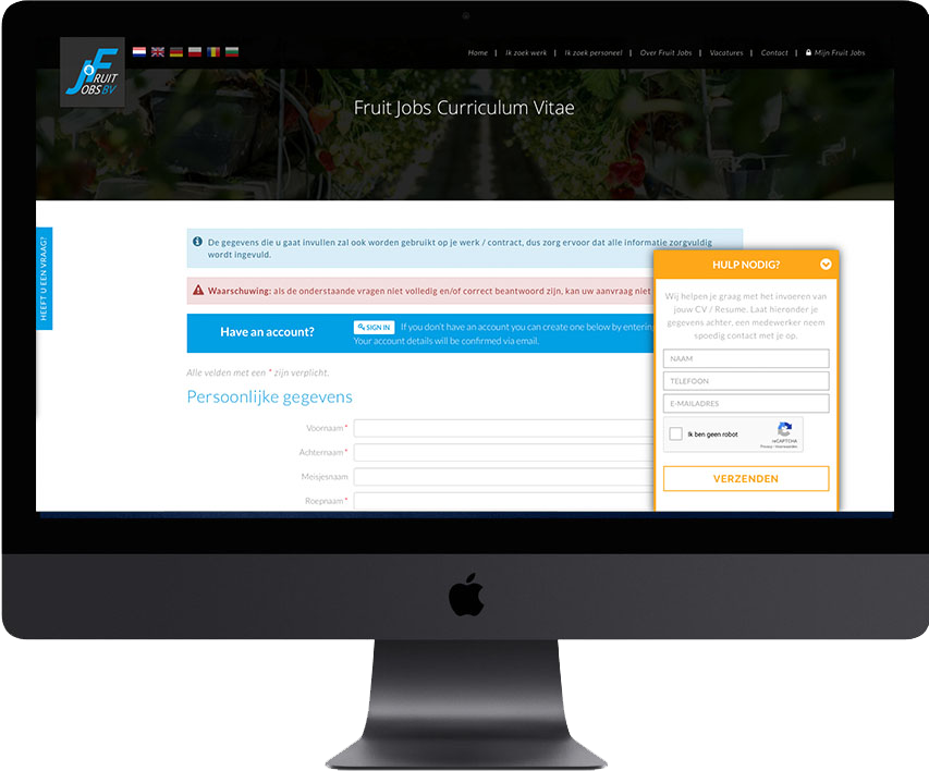 fruitjobs website design